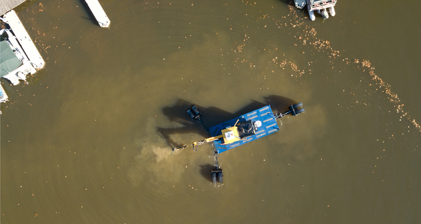 Aerial View of an Amphibious Excavator