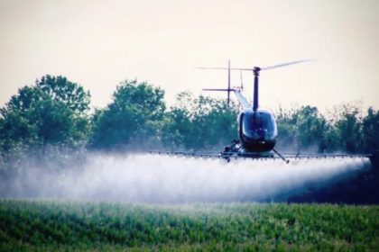 Helicopter Spraying Chemicals